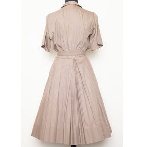 Vintage Dresses - 1950s shirt dress with full pleated skirt